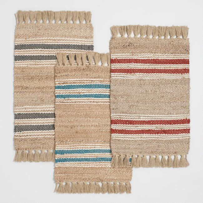 Wide Stripe Jute and Cotton Chindi Area Rug