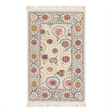 Blush Floral Embroidered Cotton Jaipur Area Rug