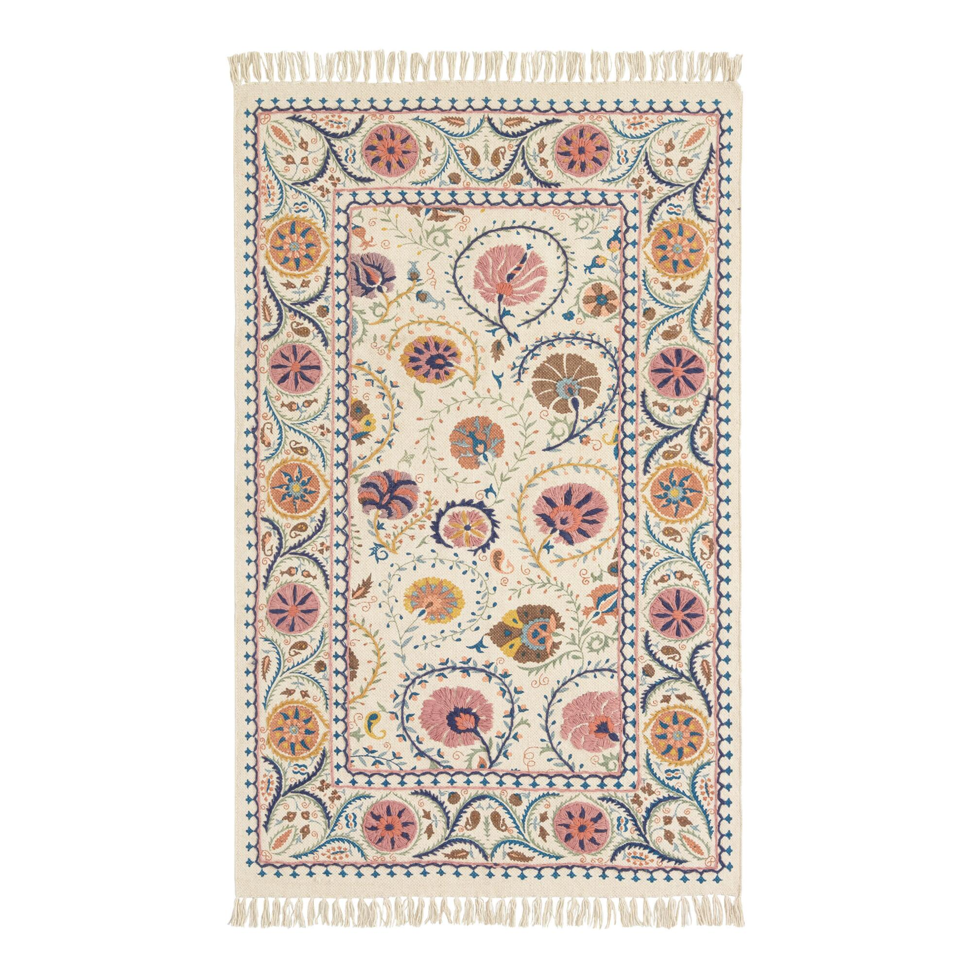 Blush Floral Embroidered Cotton Jaipur Area Rug: Pink - 3' x 5' by World Market
