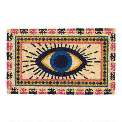 Yellow and Blue Evil Eye Coir Doormat