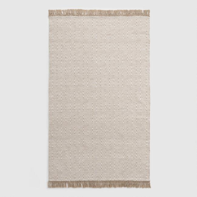 Beige and Ivory Woven Diamond Indoor Outdoor Rug