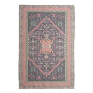 4293b581d7e Black and Coral Persian Style Print Indoor Outdoor Rug