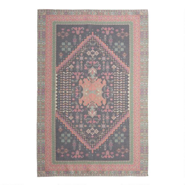 Black and Coral Persian Style Print Indoor Outdoor Rug