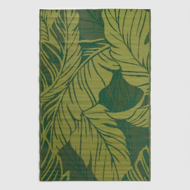 Green Tropical Reversible Indoor Outdoor Rio Floor Mat