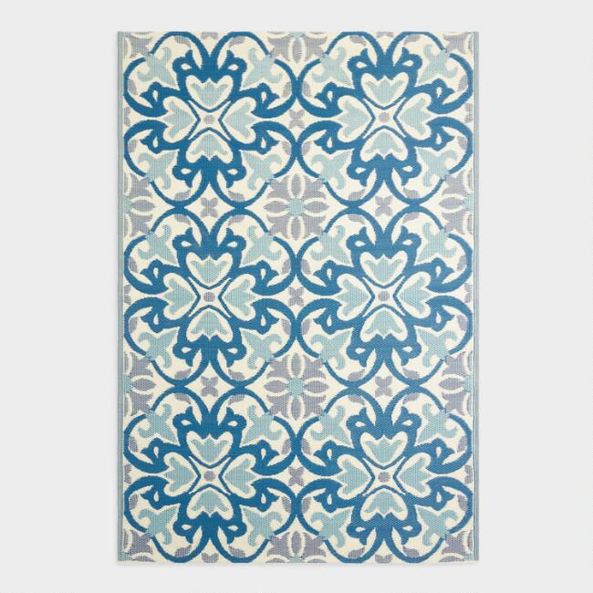 Blue Medallion Reversible Indoor Outdoor Rio Floor Mat