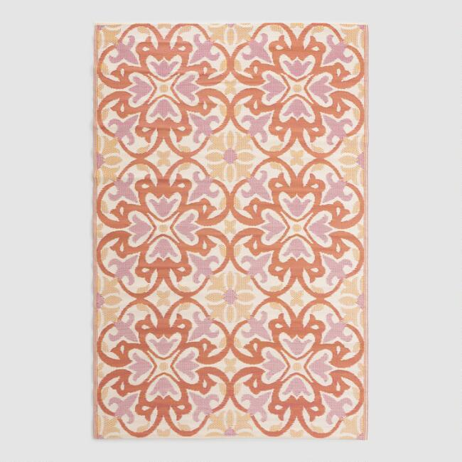 Orange Medallion Reversible Indoor Outdoor Rio Floor Mat