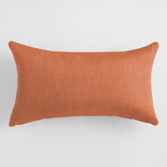 Sunbrella Rust Canvas Outdoor Lumbar Pillow