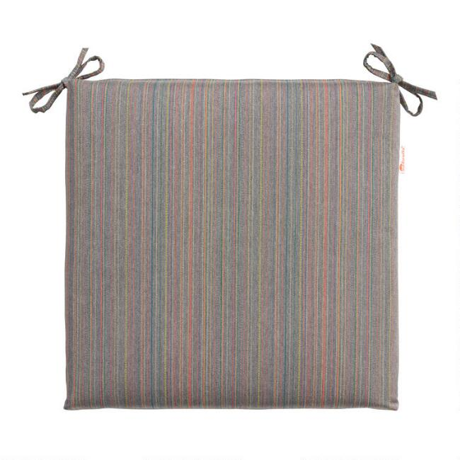 Sunbrella Gray Escapade Stripe Outdoor Chair Cushion