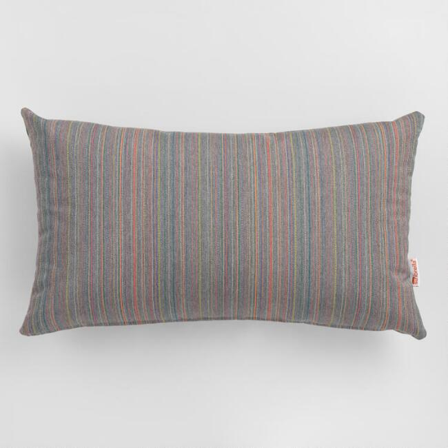 Sunbrella Gray Escapade Stripe Outdoor Lumbar Pillow