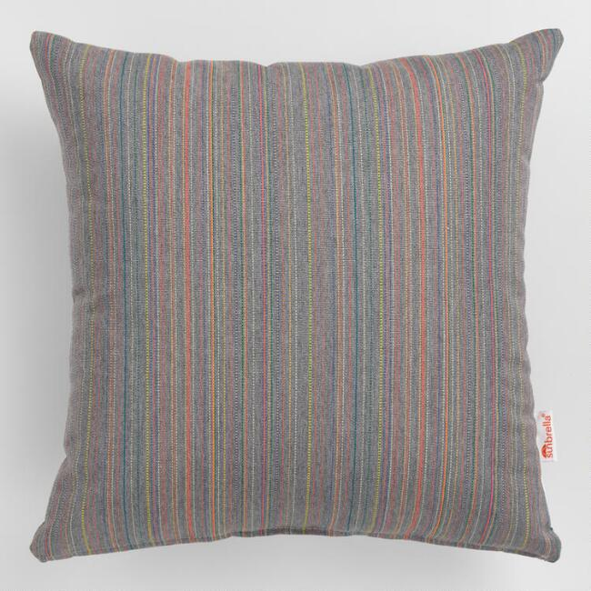 Sunbrella Gray Escapade Stripe Outdoor Throw Pillow