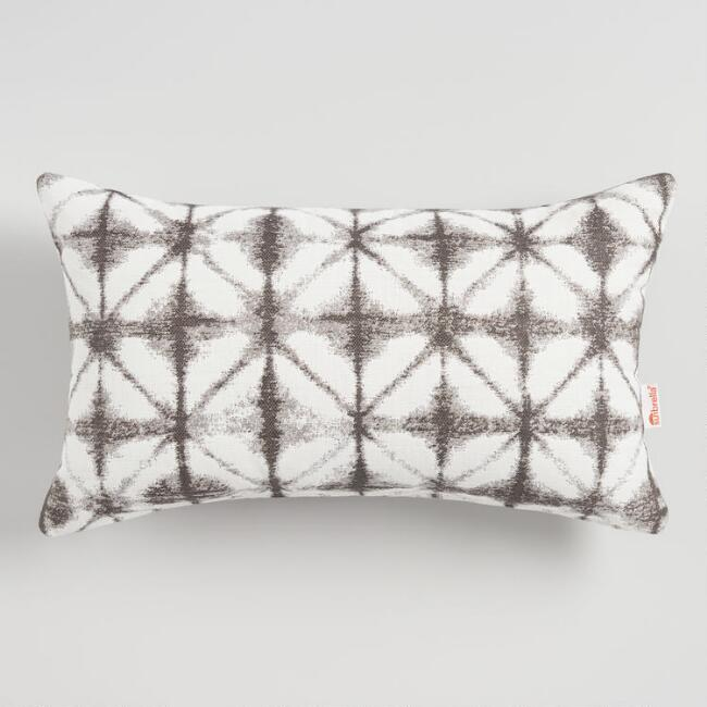 Sunbrella Gray Tile Outdoor Lumbar Pillow