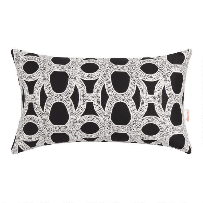 Sunbrella Black & White Woven Outdoor Lumbar Pillow