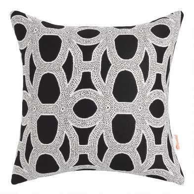Sunbrella Black & White Woven Outdoor Throw Pillow
