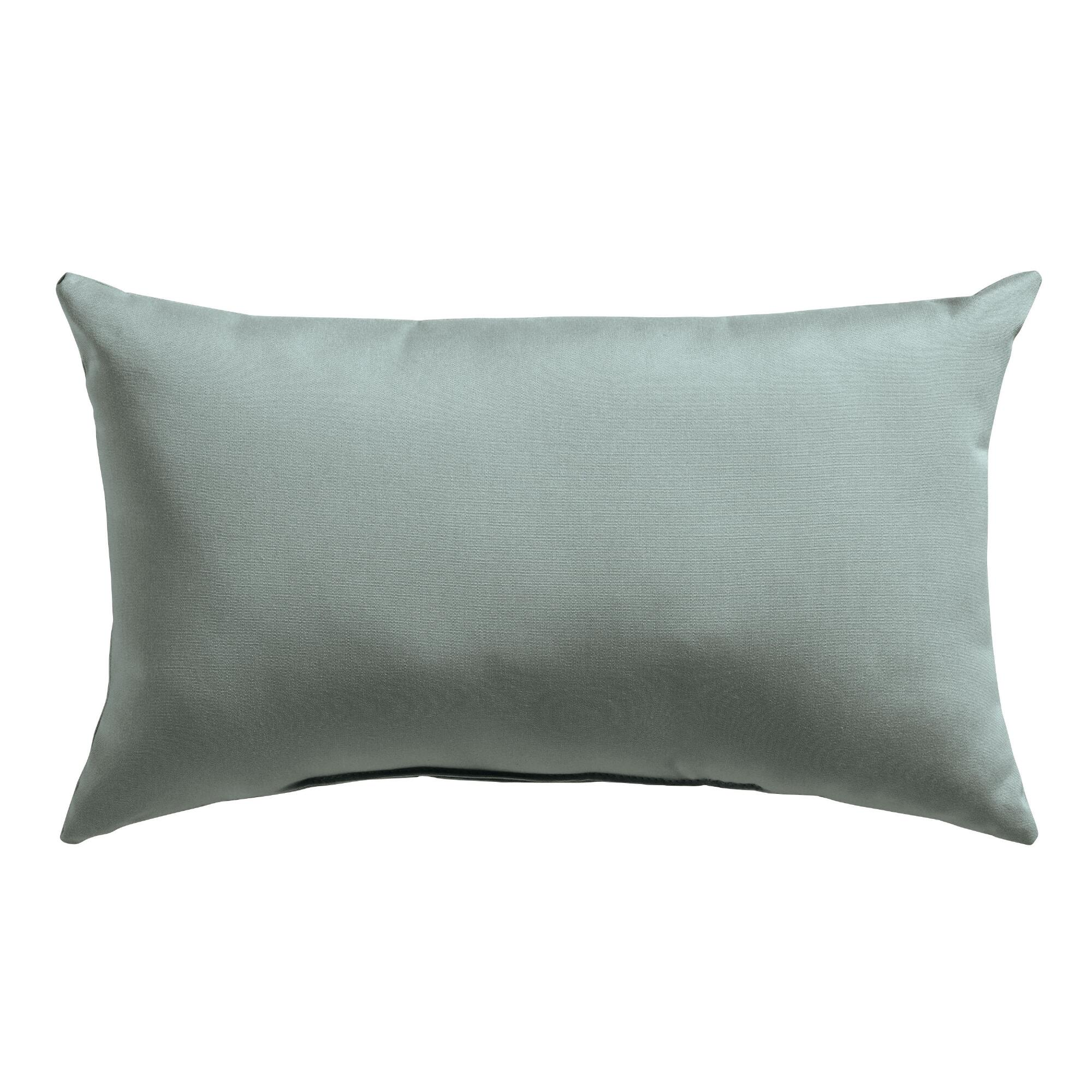 Sunbrella Spa Blue Canvas Outdoor Patio Lumbar Pillow by World Market