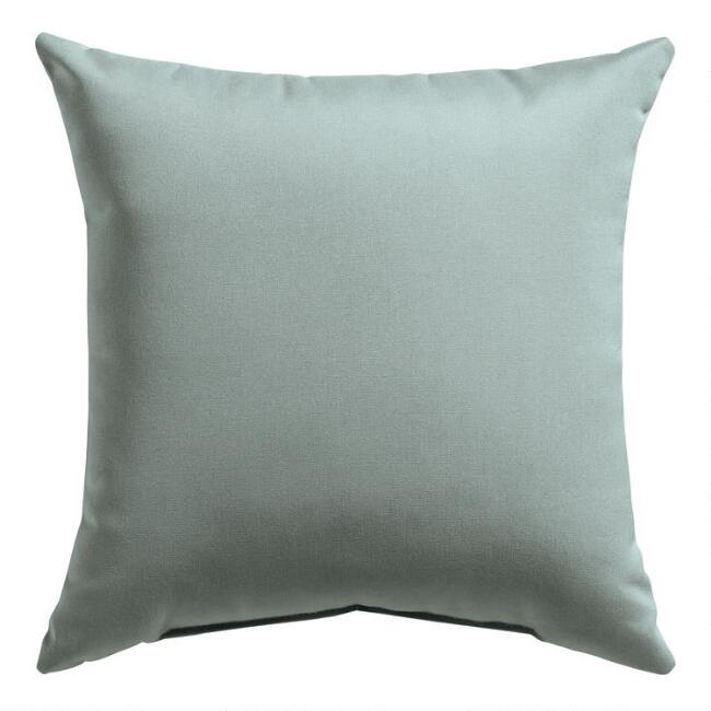 Sunbrella Spa Blue Canvas Outdoor Throw Pillow