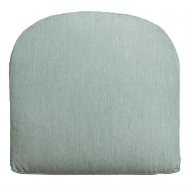 Sunbrella Spa Blue Canvas Gusseted Outdoor Chair Cushion