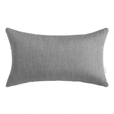 Sunbrella Slate Gray Cast Outdoor Lumbar Pillow