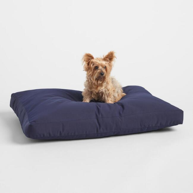Sunbrella Navy Canvas Indoor Outdoor Dog Bed