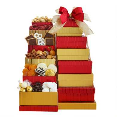 Red and Gold Holiday Gift Box Tower