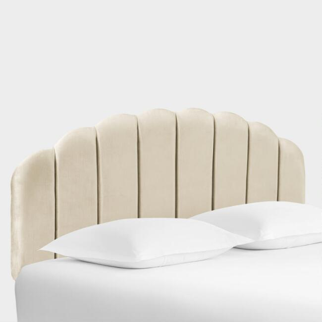 Velvet Channel Back Deco Upholstered Headboard