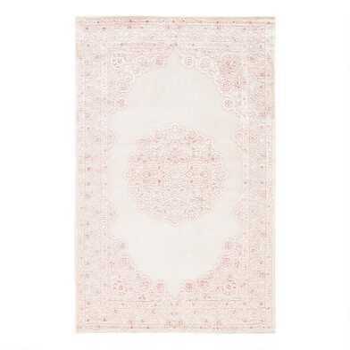 Pale Pink And White Medallion Hasna Area Rug
