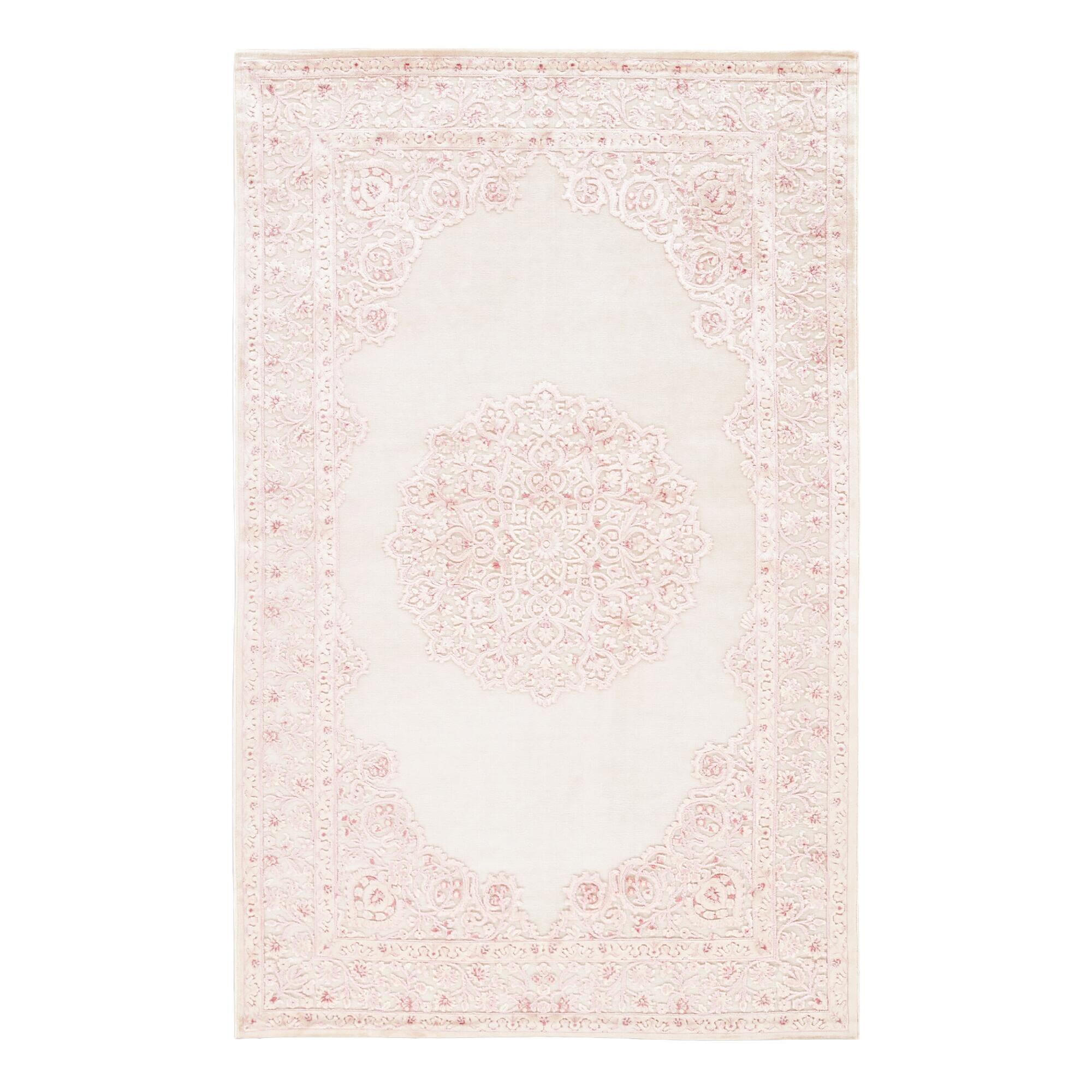 Pale Pink And White Medallion Hasna Area Rug - 7Ft6