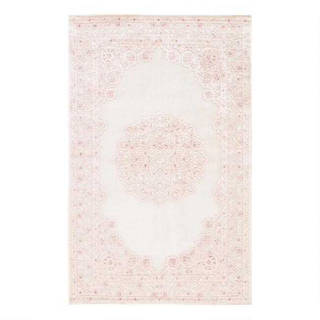 Pale Pink And White Medallion Hasna Area Rug World Market
