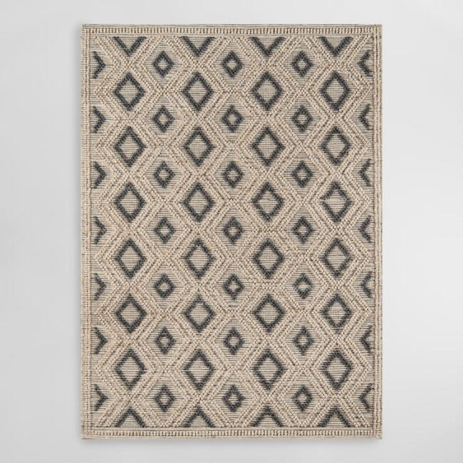 Natural and Black Diamond Wool Imrie Area Rug