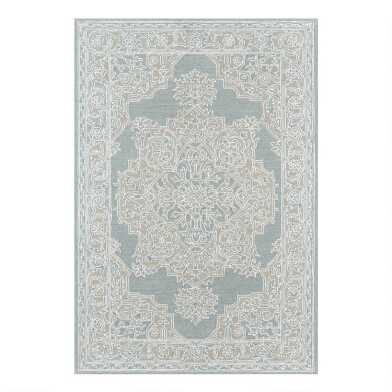 Light Blue Medallion Tufted Wool Blend Wren Area Rug