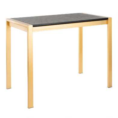 Gold Metal and Black Wood Fiona Counter Height Dining Table