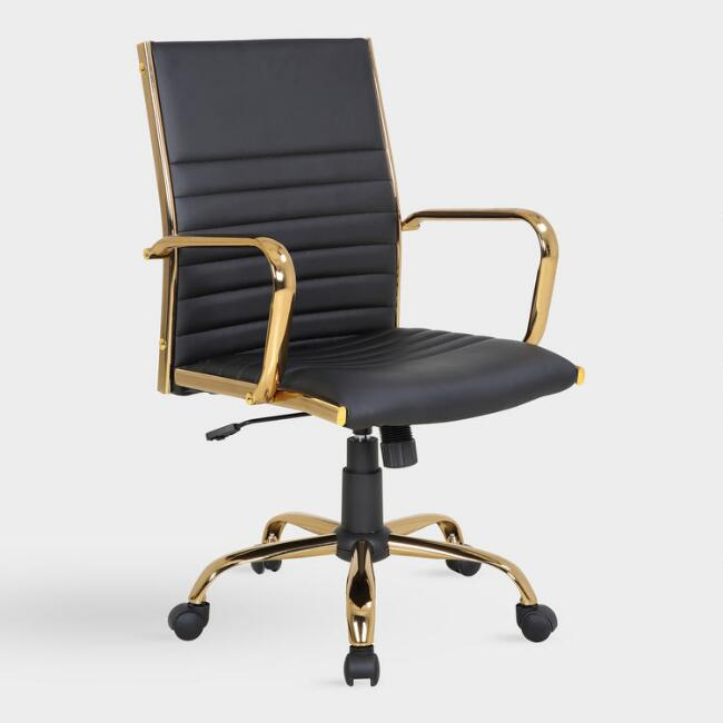 Black Leatherette Channel Back Office Chair
