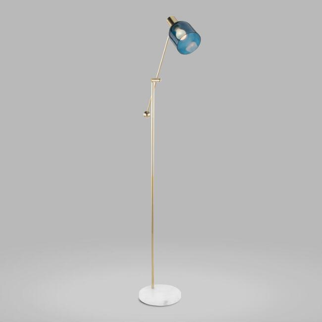 Gold and White Marble Adjustable Kate Floor Lamp