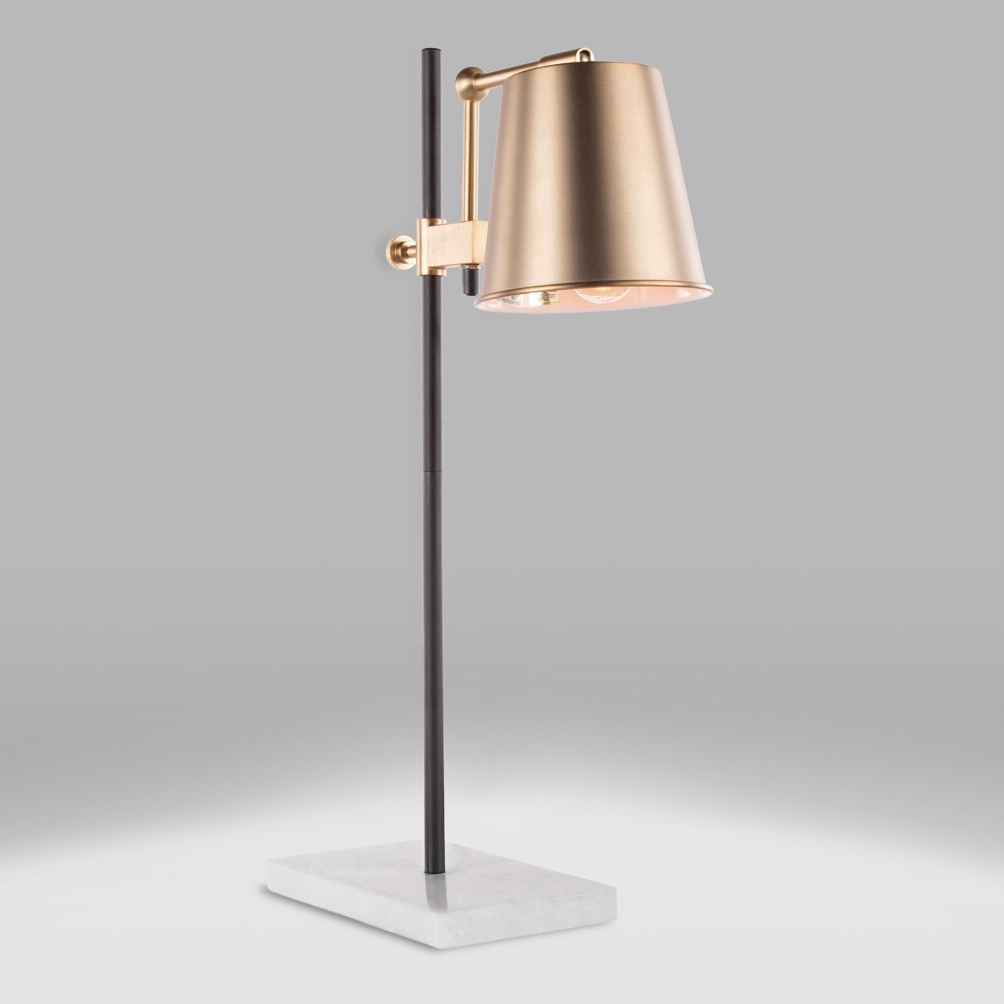Antiqued Brass and White Marble Dominic Table Lamp by World Market