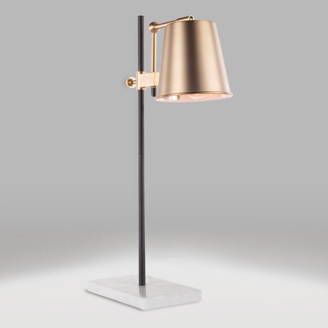 Brass and White Marble Adjustable Dominic Table Lamp