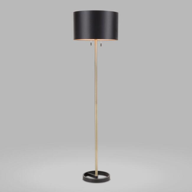 Gold and Black Art Deco 2 Light Marc Floor Lamp