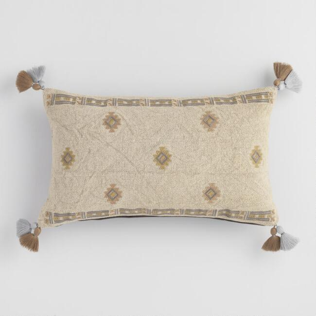 Stonewashed Green Embroidered Lumbar Pillow