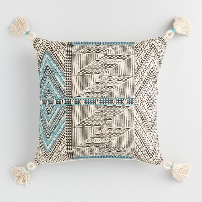 Blue Block Print Puka Shell Throw Pillow