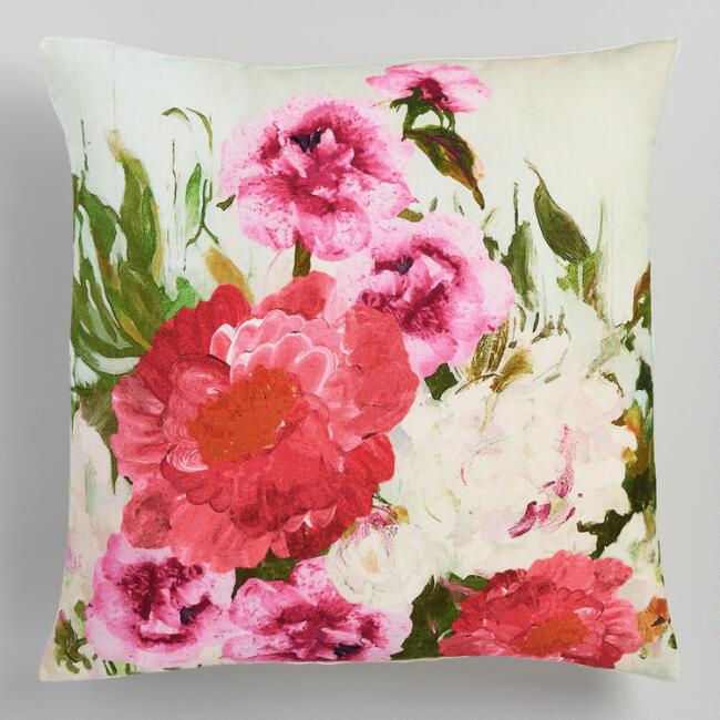 Blooming Floral Print Throw Pillow