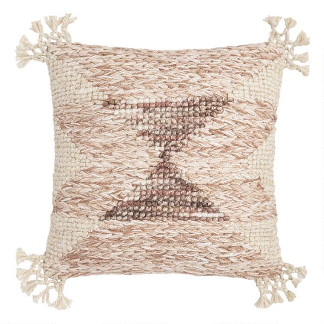 Neutral Desert Triangle Indoor Outdoor Throw Pillow