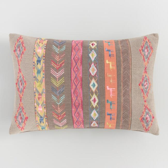 Oversized Multicolored Tribal Stripe Lumbar Pillow