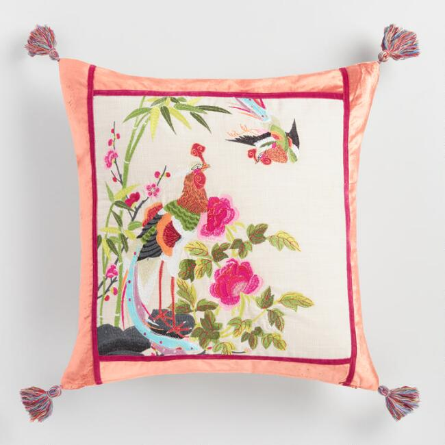 Embroidered Phoenix Throw Pillow