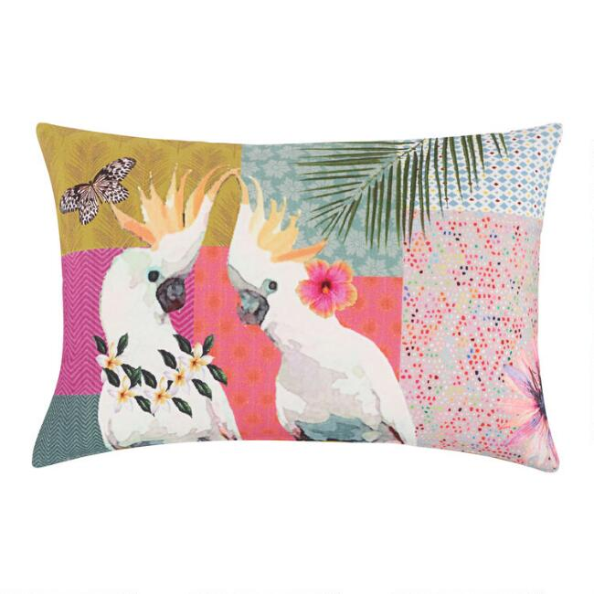 Oversized Tropical Cockatoo Throw Pillow