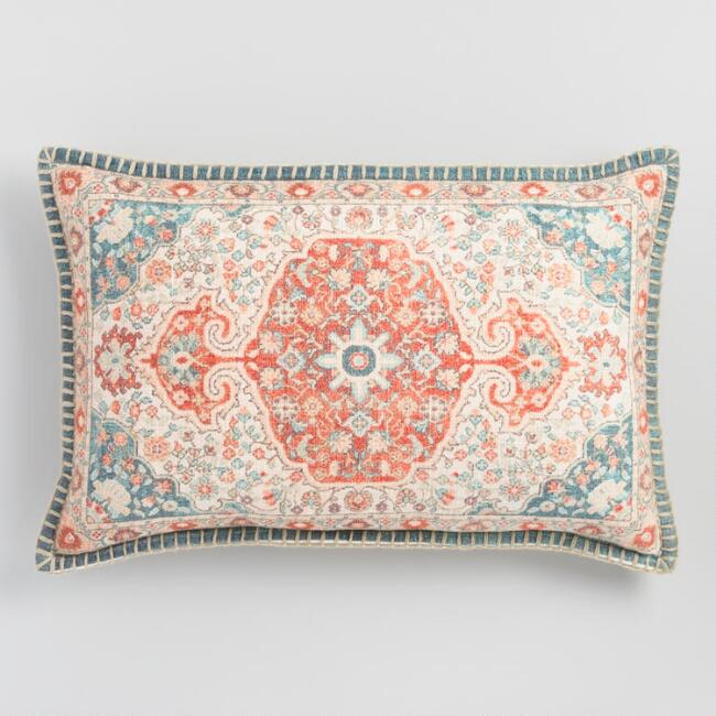 Oversized Antiqued Coral Lumbar Pillow