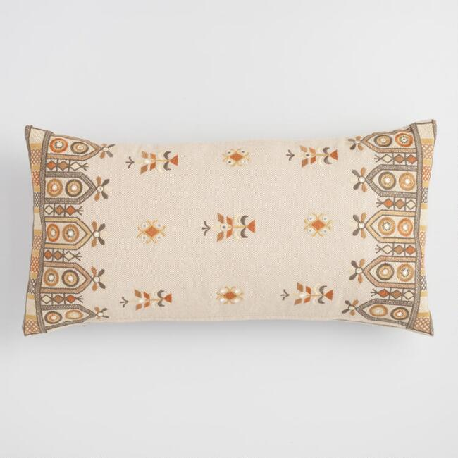Gold Embroidered Basket Weave Lumbar Pillow