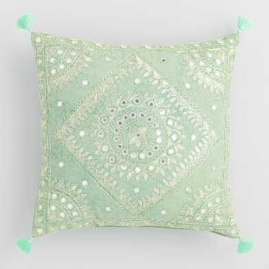 Light Green Mirrored Embroidered Throw Pillow
