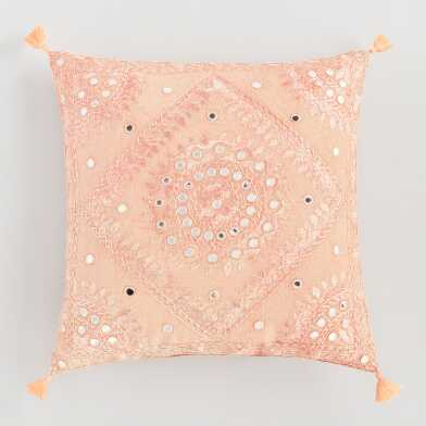 Peach Mirrored Embroidered Throw Pillow
