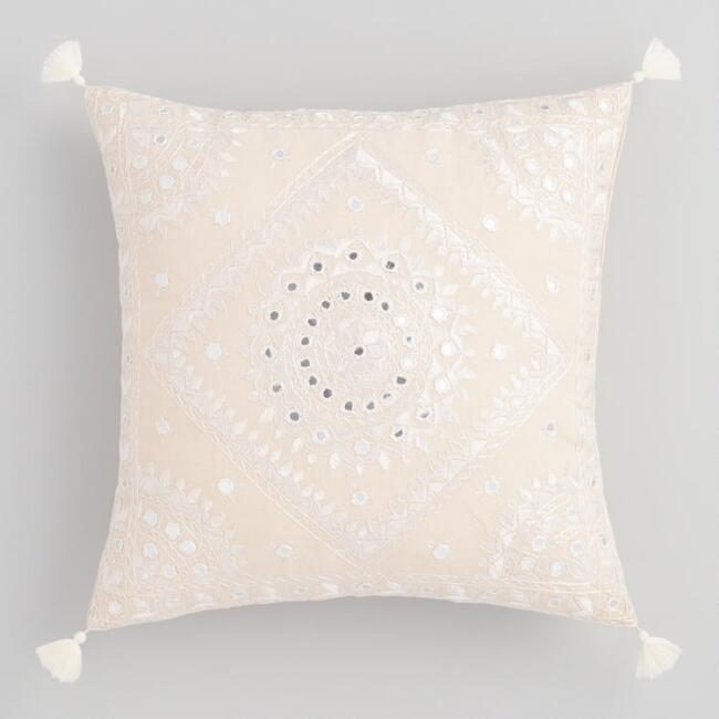 Ivory Mirrored Embroidered Throw Pillow
