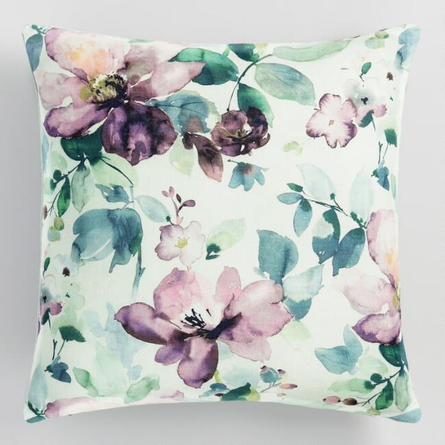 Jadeite Blooming Watercolor Throw Pillow