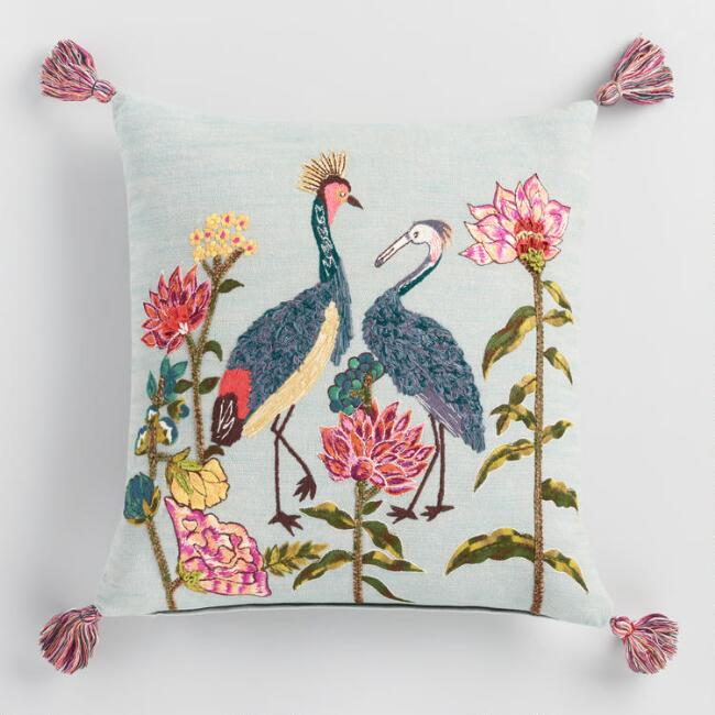 Blue Heron Embroidered Floral Throw Pillow
