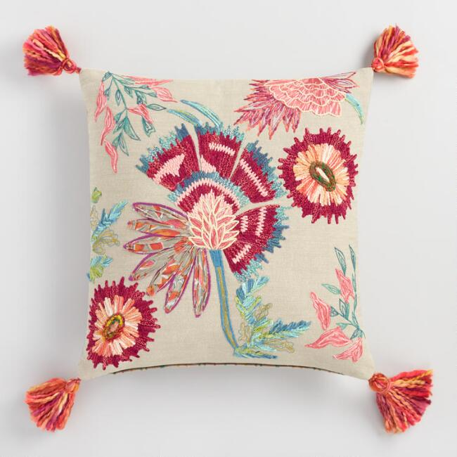 Embroidered Floral Claire Reversible Throw Pillow